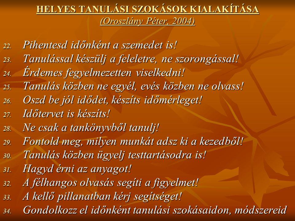 HELYES TANULÁSI SZOKÁSOK KIALAKÍTÁSA (Oroszlány Péter, 2004) 22.