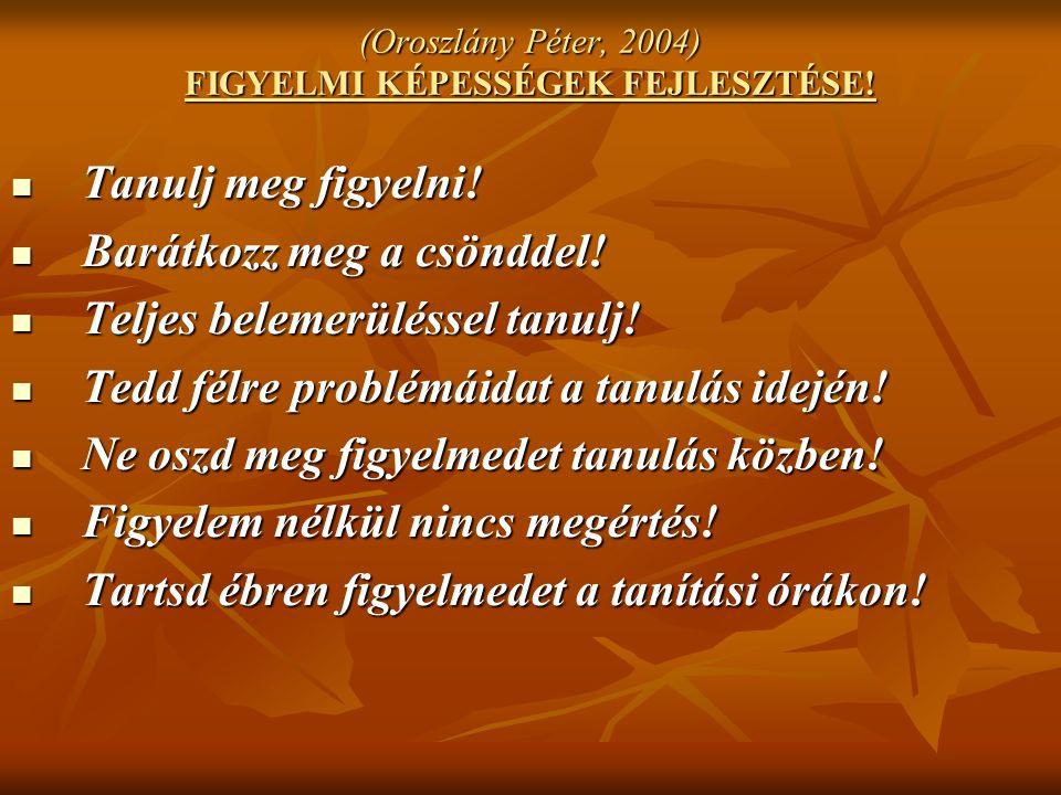 (Oroszlány Péter, 2004) FIGYELMI KÉPESSÉGEK FEJLESZTÉSE.