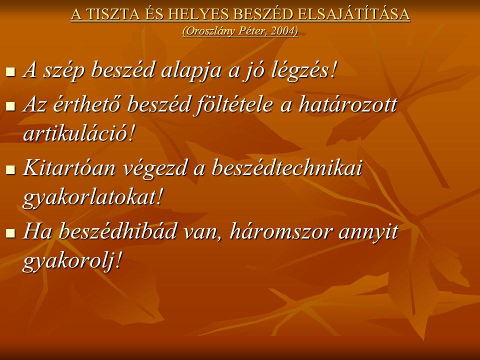 A TISZTA ÉS HELYES BESZÉD ELSAJÁTÍTÁSA (Oroszlány Péter, 2004) A szép beszéd alapja a jó légzés.