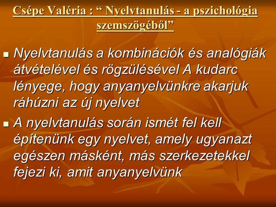 """Csépe Valéria : """" Nyelvtanulás - a pszichológia szemszögéből"""" Nyelvtanulás a kombinációk és analógiák átvételével és rögzülésével A kudarc lényege, ho"""
