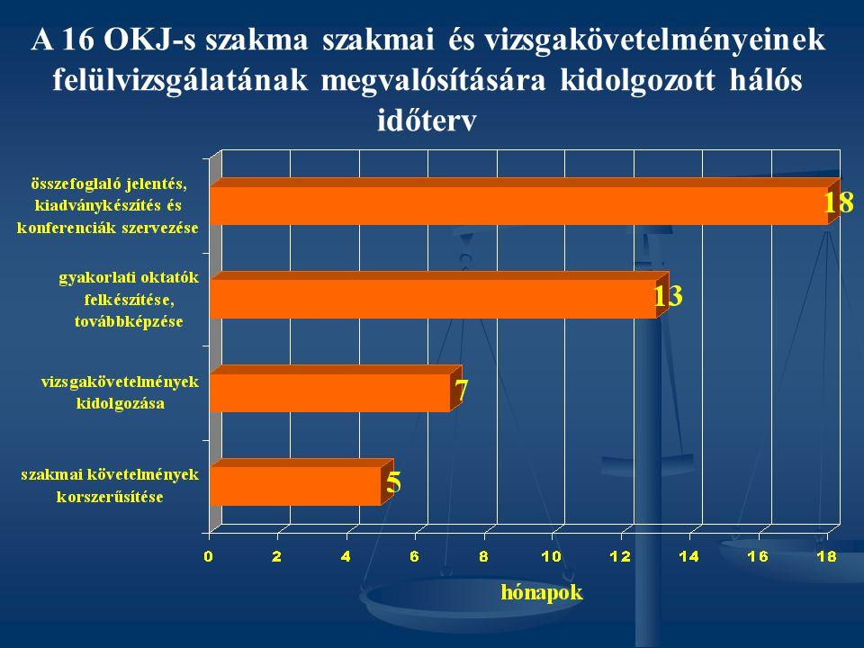 A 16 OKJ-s szakma szakmai és vizsgakövetelményeinek felülvizsgálatának megvalósítására kidolgozott hálós időterv