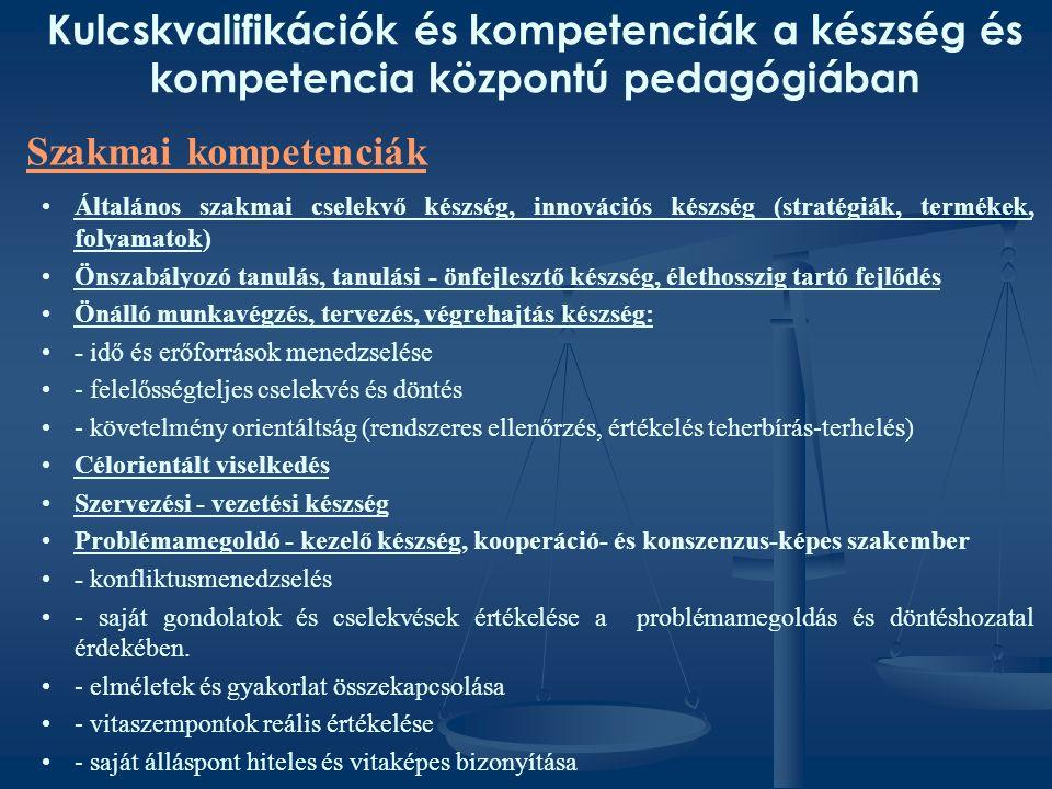 Kulcskvalifikációk és kompetenciák a készség és kompetencia központú pedagógiában Általános szakmai cselekvő készség, innovációs készség (stratégiák, termékek, folyamatok) Önszabályozó tanulás, tanulási - önfejlesztő készség, élethosszig tartó fejlődés Önálló munkavégzés, tervezés, végrehajtás készség: - idő és erőforrások menedzselése - felelősségteljes cselekvés és döntés - követelmény orientáltság (rendszeres ellenőrzés, értékelés teherbírás-terhelés) Célorientált viselkedés Szervezési - vezetési készség Problémamegoldó - kezelő készség, kooperáció- és konszenzus-képes szakember - konfliktusmenedzselés - saját gondolatok és cselekvések értékelése a problémamegoldás és döntéshozatal érdekében.