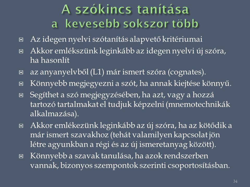 Az idegen nyelvi szótanítás alapvető kritériumai  Akkor emlékszünk leginkább az idegen nyelvi új szóra, ha hasonlít  az anyanyelvből (L1) már ismert szóra (cognates).