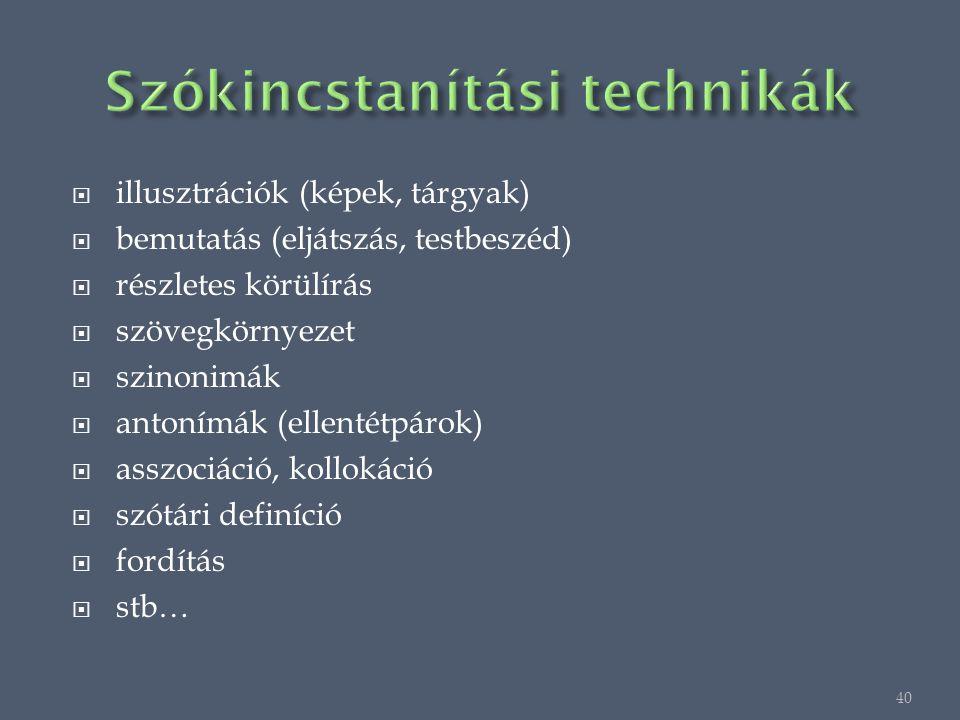  illusztrációk (képek, tárgyak)  bemutatás (eljátszás, testbeszéd)  részletes körülírás  szövegkörnyezet  szinonimák  antonímák (ellentétpárok)  asszociáció, kollokáció  szótári definíció  fordítás  stb… 40