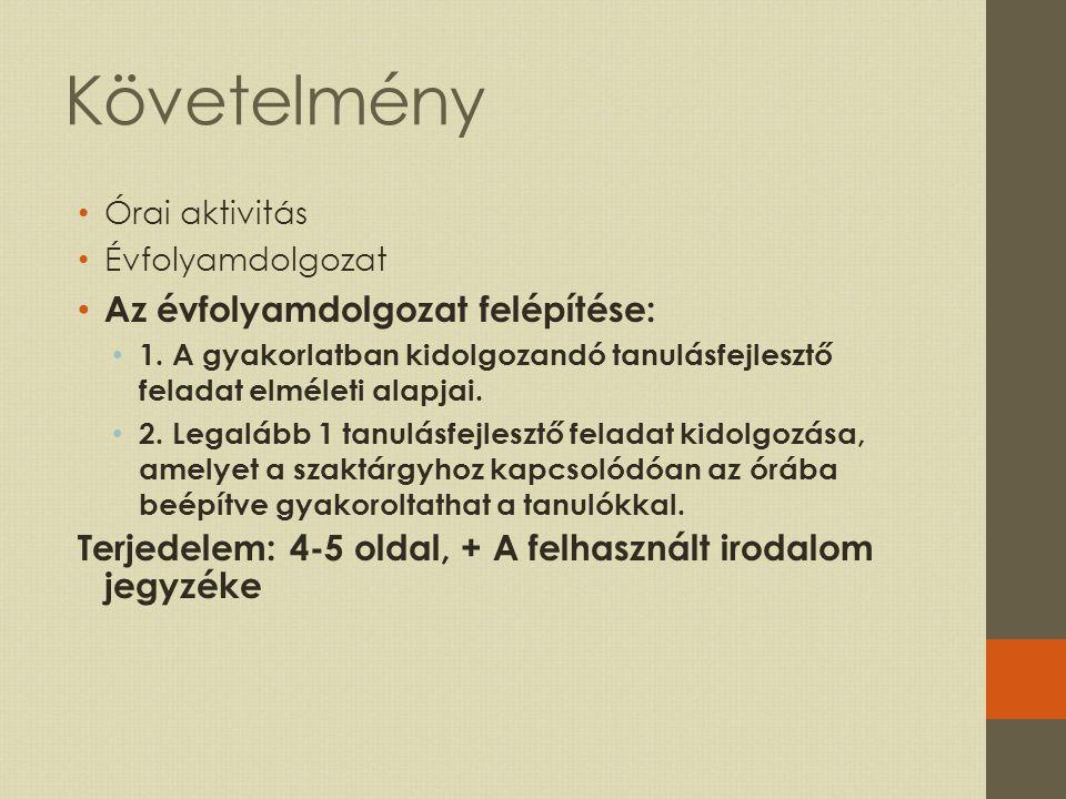 3 Kötelező irodalom www.tanulasfejlesztes.ektf.hu Molnár Éva: Önszabályozó tanulás; nemzetközi kutatási irányzatok és tendenciák; Magyar Pedagógia, 102.