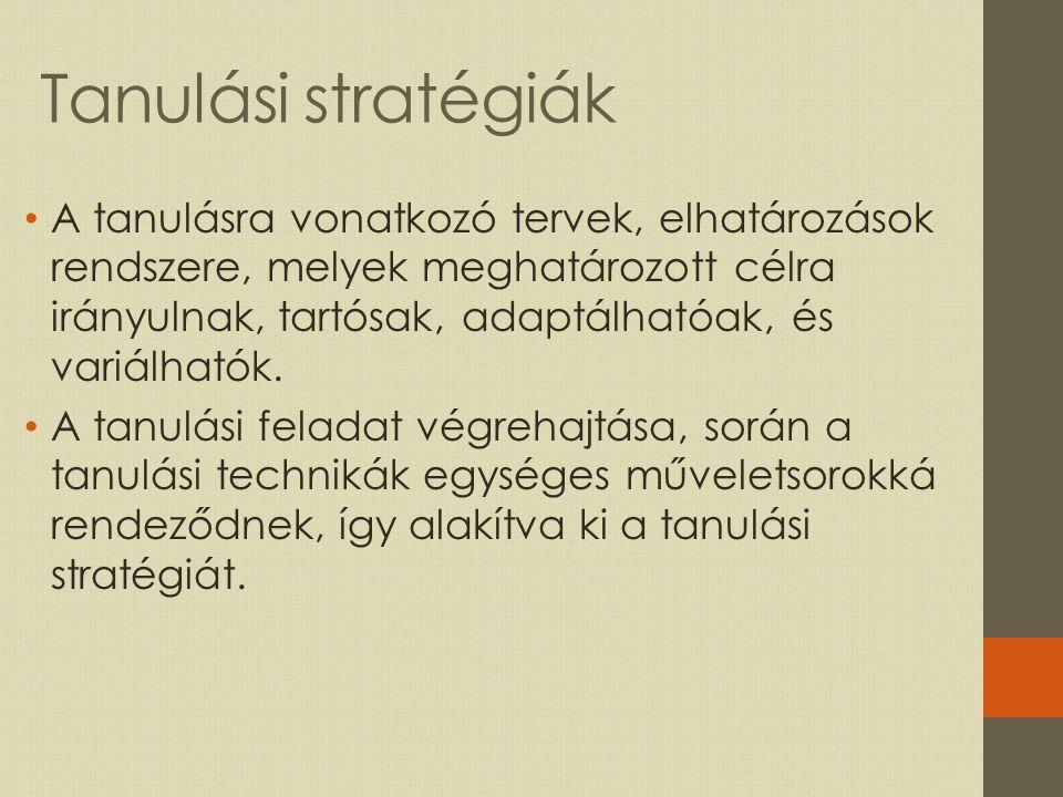 Tanulási stratégiák A tanulásra vonatkozó tervek, elhatározások rendszere, melyek meghatározott célra irányulnak, tartósak, adaptálhatóak, és variálhatók.