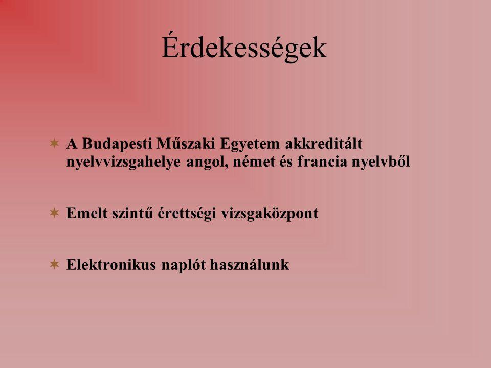  A Budapesti Műszaki Egyetem akkreditált nyelvvizsgahelye angol, német és francia nyelvből  Emelt szintű érettségi vizsgaközpont  Elektronikus naplót használunk Érdekességek