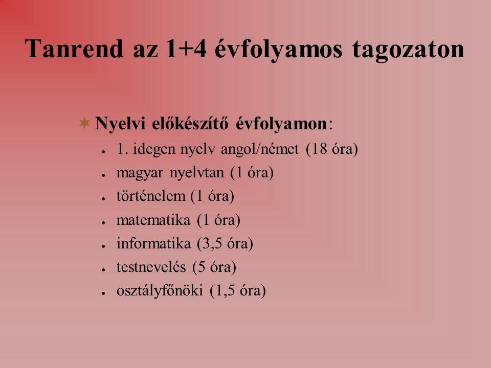 Tanrend az 1+4 évfolyamos tagozaton  Nyelvi előkészítő évfolyamon: ● 1.