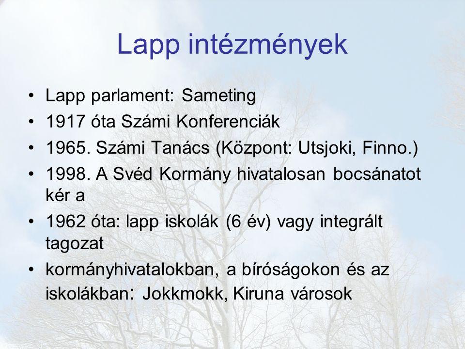 Lapp intézmények Lapp parlament: Sameting 1917 óta Számi Konferenciák 1965.