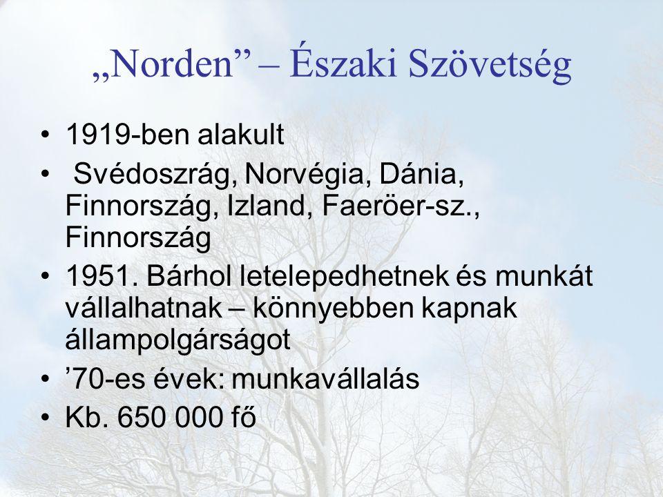 """""""Norden"""" – Északi Szövetség 1919-ben alakult Svédoszrág, Norvégia, Dánia, Finnország, Izland, Faeröer-sz., Finnország 1951. Bárhol letelepedhetnek és"""
