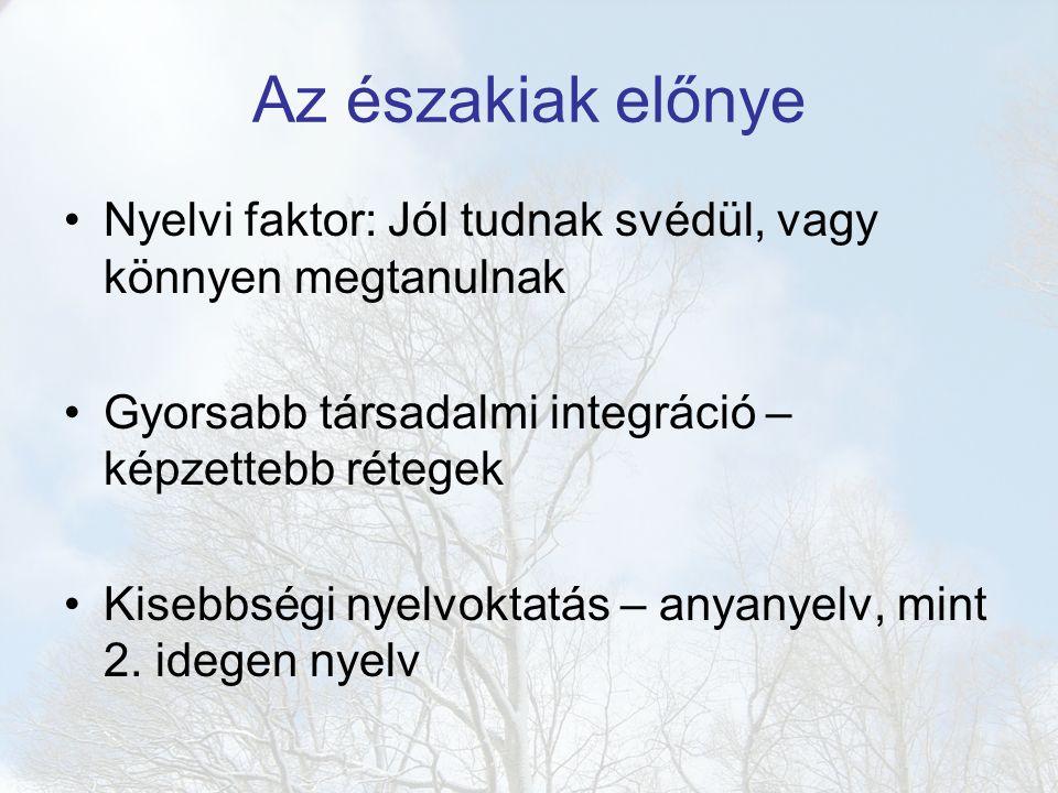 Az északiak előnye Nyelvi faktor: Jól tudnak svédül, vagy könnyen megtanulnak Gyorsabb társadalmi integráció – képzettebb rétegek Kisebbségi nyelvoktatás – anyanyelv, mint 2.