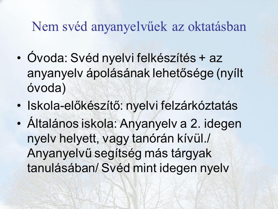Nem svéd anyanyelvűek az oktatásban Óvoda: Svéd nyelvi felkészítés + az anyanyelv ápolásának lehetősége (nyílt óvoda) Iskola-előkészítő: nyelvi felzárkóztatás Általános iskola: Anyanyelv a 2.