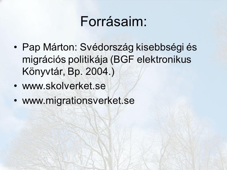Forrásaim: Pap Márton: Svédország kisebbségi és migrációs politikája (BGF elektronikus Könyvtár, Bp. 2004.) www.skolverket.se www.migrationsverket.se