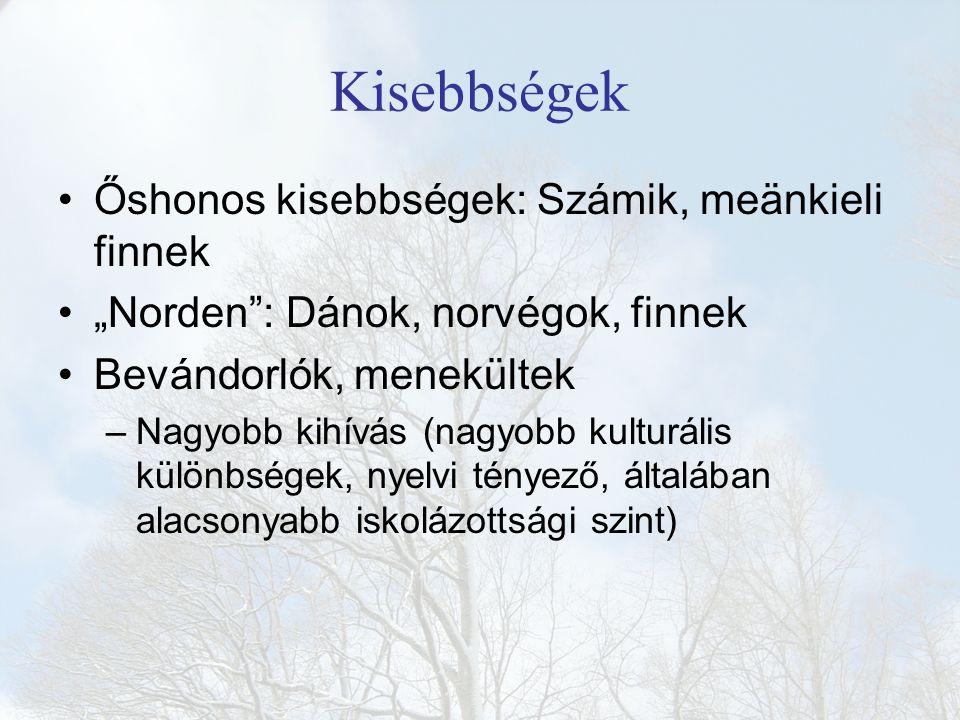 """Kisebbségek Őshonos kisebbségek: Számik, meänkieli finnek """"Norden"""": Dánok, norvégok, finnek Bevándorlók, menekültek –Nagyobb kihívás (nagyobb kulturál"""