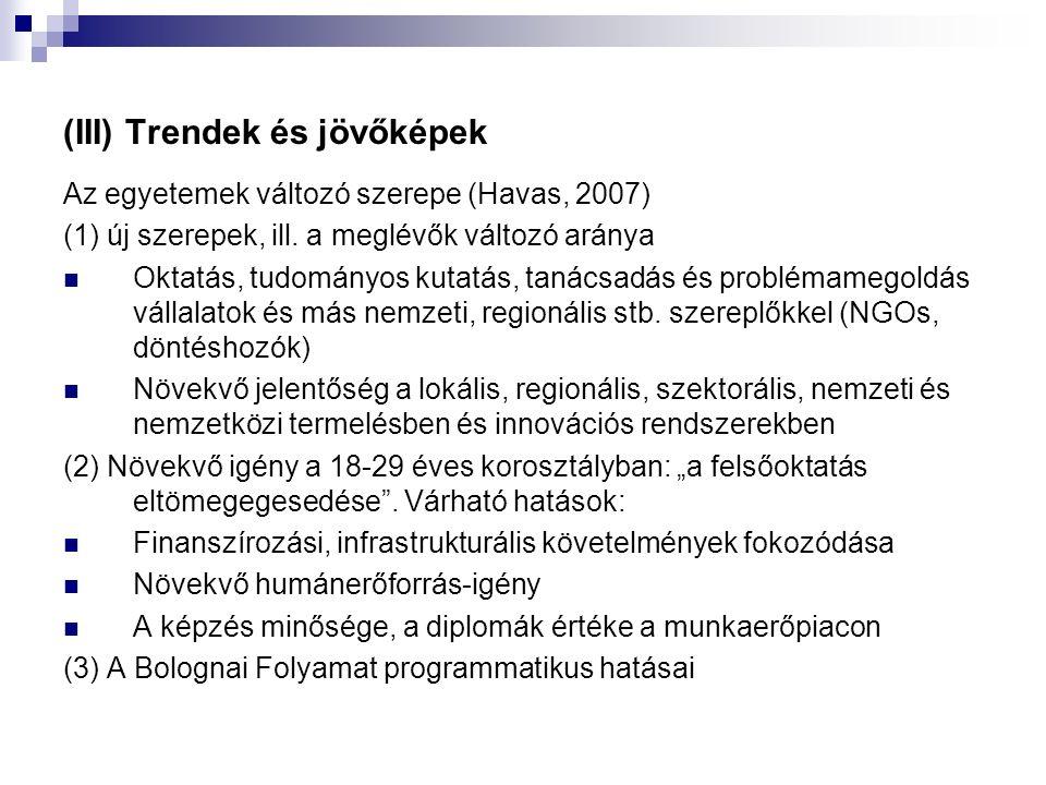 (III) Trendek és jövőképek Az egyetemek változó szerepe (Havas, 2007) (1) új szerepek, ill.