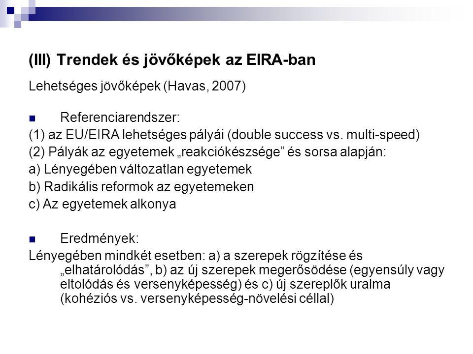 (III) Trendek és jövőképek az EIRA-ban Lehetséges jövőképek (Havas, 2007) Referenciarendszer: (1) az EU/EIRA lehetséges pályái (double success vs.