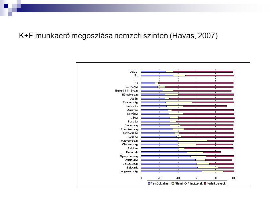K+F munkaerő megoszlása nemzeti szinten (Havas, 2007)