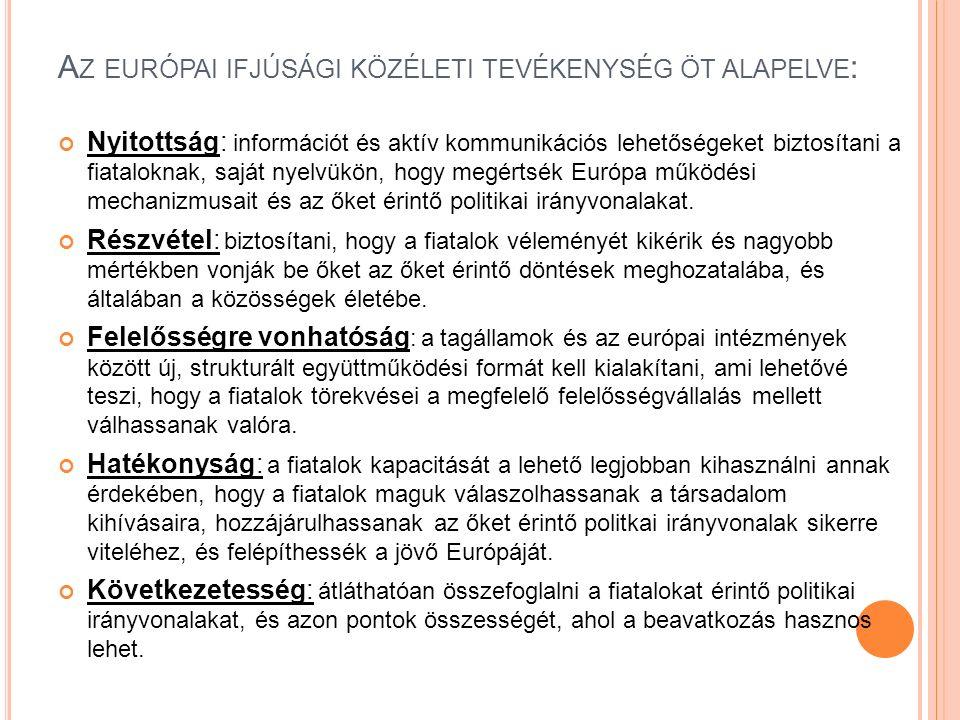 A Z EURÓPAI IFJÚSÁGI KÖZÉLETI TEVÉKENYSÉG ÖT ALAPELVE : Nyitottság: információt és aktív kommunikációs lehetőségeket biztosítani a fiataloknak, saját nyelvükön, hogy megértsék Európa működési mechanizmusait és az őket érintő politikai irányvonalakat.