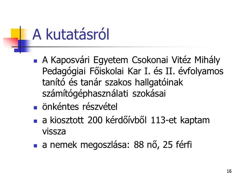 16 A kutatásról A Kaposvári Egyetem Csokonai Vitéz Mihály Pedagógiai Főiskolai Kar I.