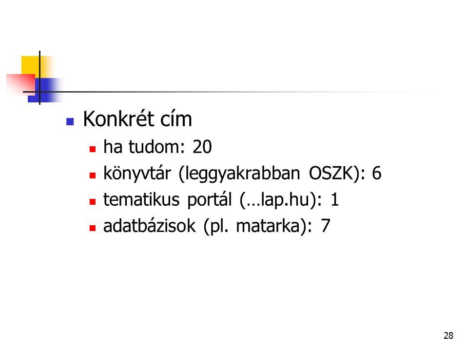 28 Konkrét cím ha tudom: 20 könyvtár (leggyakrabban OSZK): 6 tematikus portál (…lap.hu): 1 adatbázisok (pl.