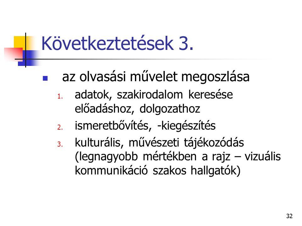 32 Következtetések 3. az olvasási művelet megoszlása 1.