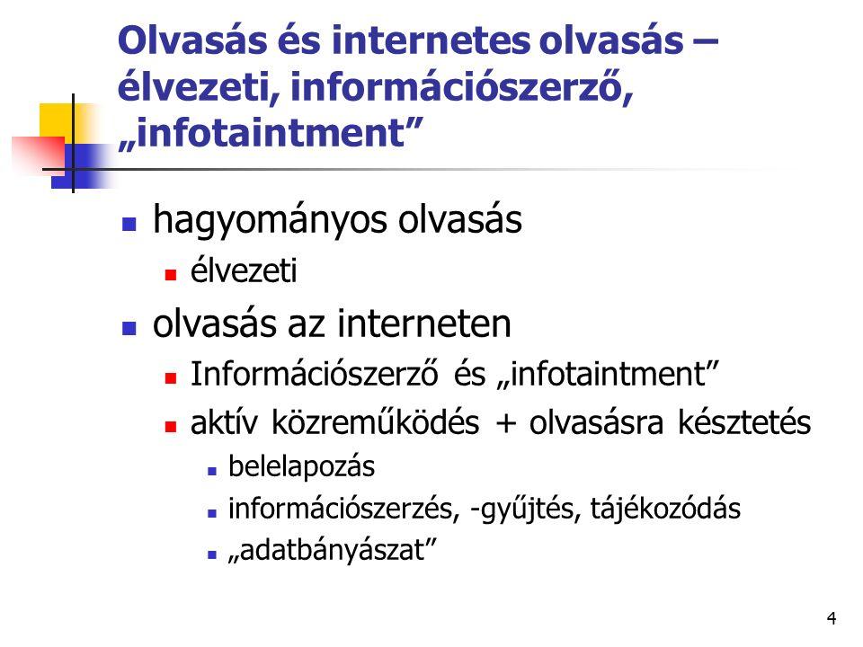 """4 Olvasás és internetes olvasás – élvezeti, információszerző, """"infotaintment hagyományos olvasás élvezeti olvasás az interneten Információszerző és """"infotaintment aktív közreműködés + olvasásra késztetés belelapozás információszerzés, -gyűjtés, tájékozódás """"adatbányászat"""