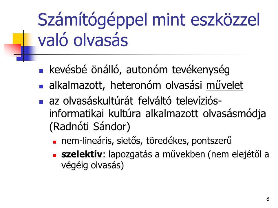 9 Az internet mint könyvtár kézikönyvek, adattárak, cikkek, tanulmányok, digitalizált dokumentumok például: Online kézikönyvtár Lexikonok (www.gallup.hu/Oktatas/ip/lexikon.htm)www.gallup.hu/Oktatas/ip/lexikon.htm Szótárak (www.gallup.hu/Oktatas/ip/szotar.htm)www.gallup.hu/Oktatas/ip/szotar.htm Online periodikák: az internetes sajtó A www.lap.hu újság-link gyűjteménye Vidéki lapok régiónként a lap.hu linkgyűjteményében (http://regioujsag.lap.hu)http://regioujsag.lap.hu