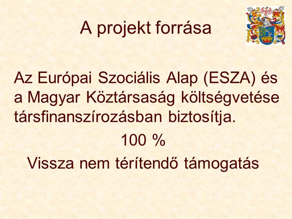 A projekt forrása Az Európai Szociális Alap (ESZA) és a Magyar Köztársaság költségvetése társfinanszírozásban biztosítja. 100 % Vissza nem térítendő t