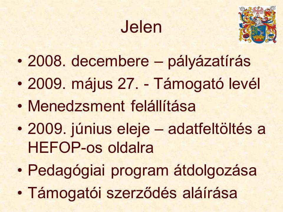 Jelen 2008. decembere – pályázatírás 2009. május 27. - Támogató levél Menedzsment felállítása 2009. június eleje – adatfeltöltés a HEFOP-os oldalra Pe