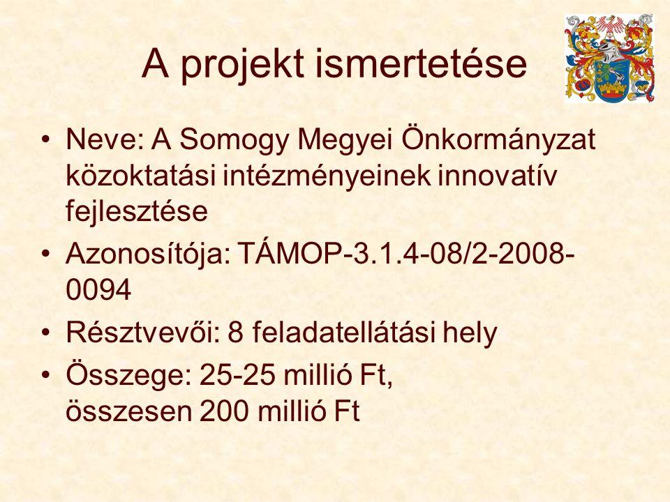 A projekt ismertetése Neve: A Somogy Megyei Önkormányzat közoktatási intézményeinek innovatív fejlesztése Azonosítója: TÁMOP-3.1.4-08/2-2008- 0094 Résztvevői: 8 feladatellátási hely Összege: 25-25 millió Ft, összesen 200 millió Ft