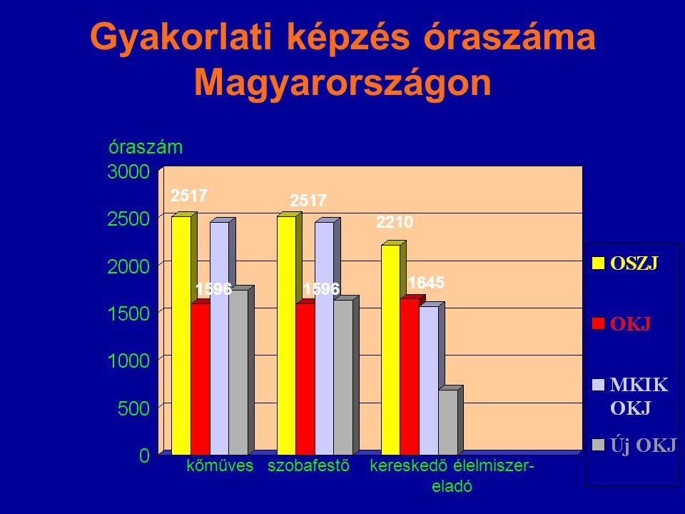 Gyakorlati képzés óraszáma Magyarországon kőművesszobafestőkereskedő élelmiszer- eladó 2517 1645 óraszám 2210 1596 2517 1596