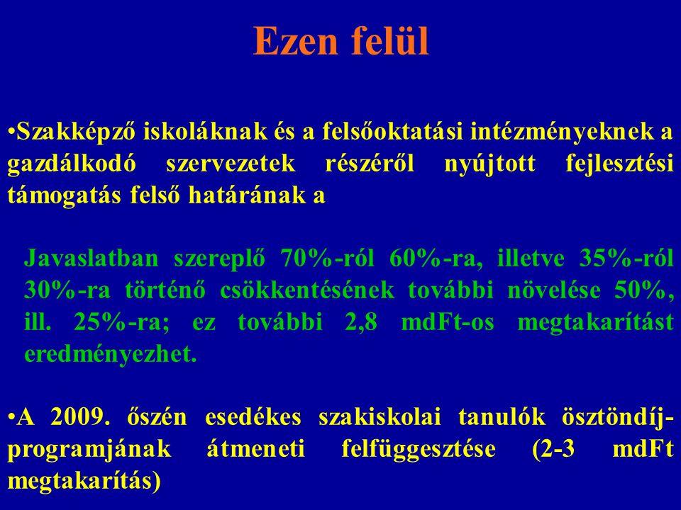 MegnevezésÖsszeg 2008-ban (mdFt) OKM rendelkezési jogkörébe tartozó keretösszeg 4,6 A szakiskolai fejlesztési programra évente meghatározott keretösszeg 1,9 Határontúli magyarok szakképzése, felsőoktatása és felnőttképzése 0,8 A felnőttképzési célok támogatása7,6 A megtakarítás más forrásból történő finanszírozásának lehetőségei