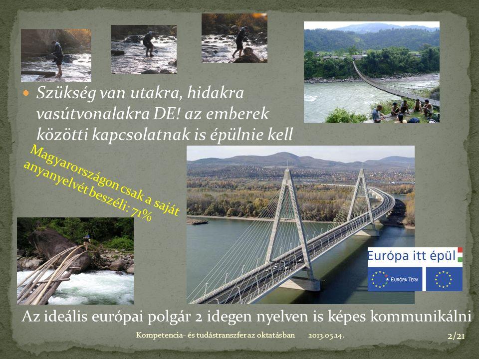 2013.05.14.Kompetencia- és tudástranszfer az oktatásban 2/21 Szükség van utakra, hidakra vasútvonalakra DE.
