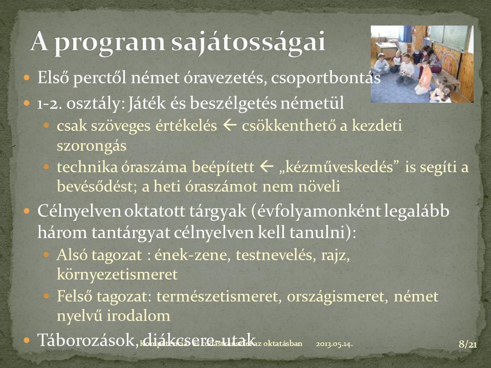 2013.05.14.Kompetencia- és tudástranszfer az oktatásban 8/21 Első perctől német óravezetés, csoportbontás 1-2.