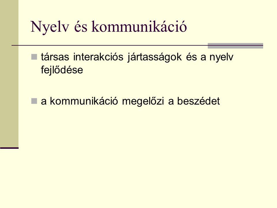 Nyelv és kommunikáció társas interakciós jártasságok és a nyelv fejlődése a kommunikáció megelőzi a beszédet