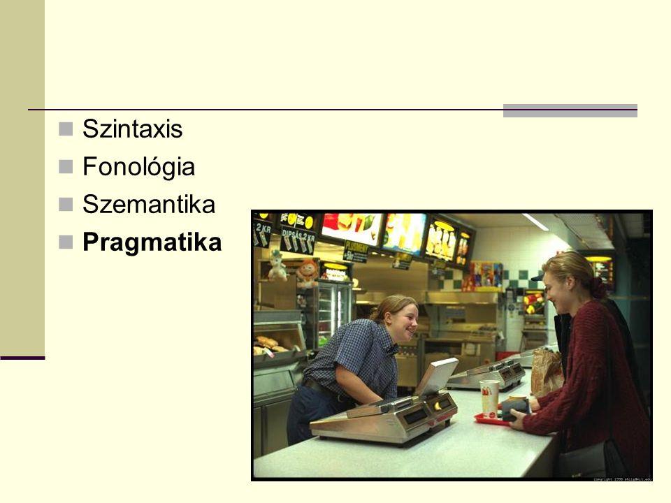 Szintaxis Fonológia Szemantika Pragmatika