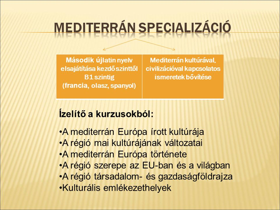 Második új latin nyelv elsajátítása kezdő szinttől B1 szintig ( francia, olasz, spanyol) Mediterrán kultúrával, civilizációval kapcsolatos ismeretek bővítése Ízelítő a kurzusokból: A mediterrán Európa írott kultúrája A régió mai kultúrájának változatai A mediterrán Európa története A régió szerepe az EU-ban és a világban A régió társadalom- és gazdaságföldrajza Kulturális emlékezethelyek