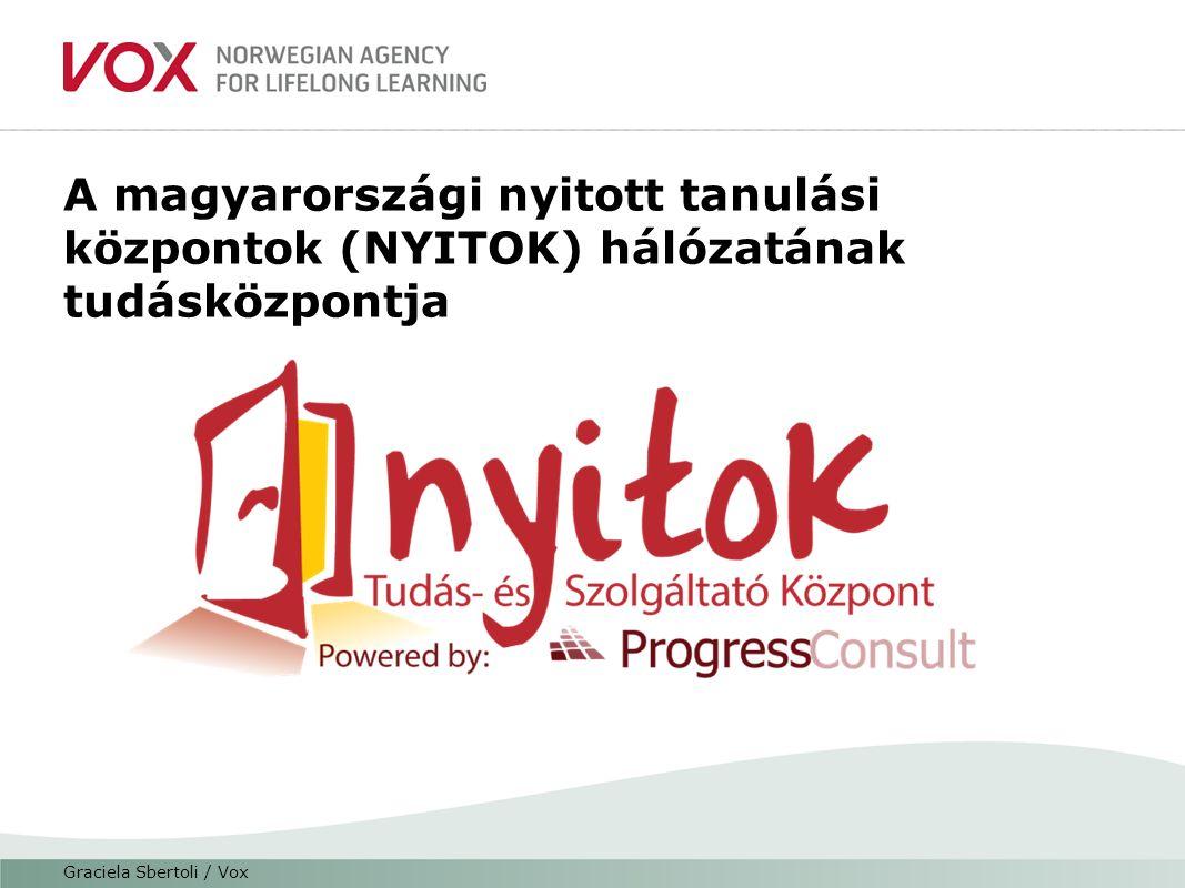 A magyarországi nyitott tanulási központok (NYITOK) hálózatának tudásközpontja Graciela Sbertoli / Vox