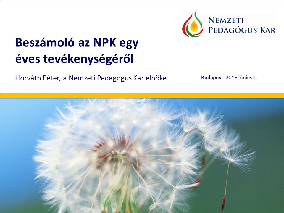 Beszámoló az NPK egy éves tevékenységéről Horváth Péter, a Nemzeti Pedagógus Kar elnöke Budapest, 2015 június 4..