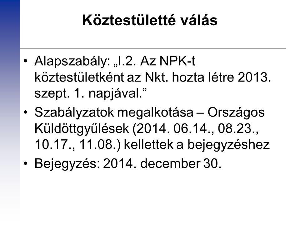"""Köztestületté válás Alapszabály: """"I.2. Az NPK-t köztestületként az Nkt. hozta létre 2013. szept. 1. napjával."""" Szabályzatok megalkotása – Országos Kül"""