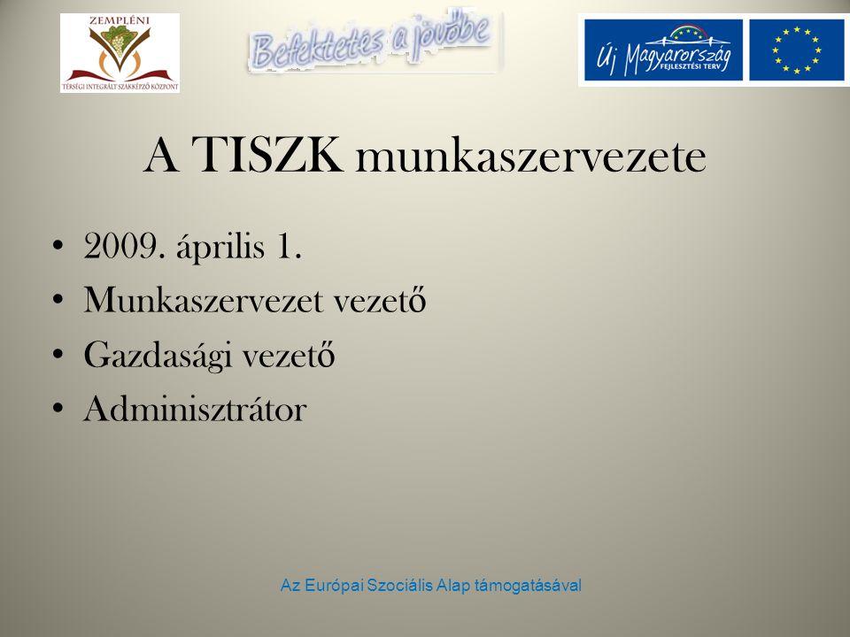Az Európai Szociális Alap támogatásával A TISZK munkaszervezete 2009. április 1. Munkaszervezet vezet ő Gazdasági vezet ő Adminisztrátor