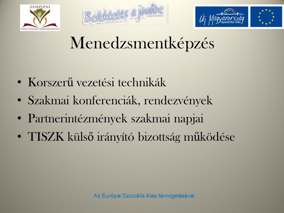 Az Európai Szociális Alap támogatásával Menedzsmentképzés Korszer ű vezetési technikák Szakmai konferenciák, rendezvények Partnerintézmények szakmai napjai TISZK küls ő irányító bizottság m ű ködése