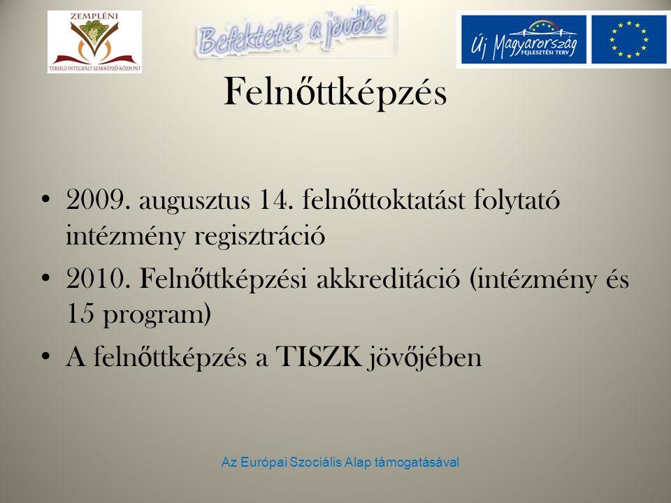 Az Európai Szociális Alap támogatásával Feln ő ttképzés 2009. augusztus 14. feln ő ttoktatást folytató intézmény regisztráció 2010. Feln ő ttképzési a