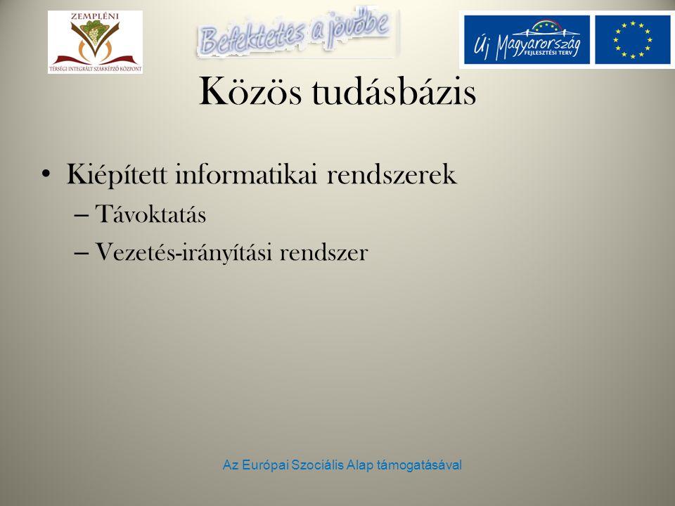 Az Európai Szociális Alap támogatásával Közös tudásbázis Kiépített informatikai rendszerek – Távoktatás – Vezetés-irányítási rendszer