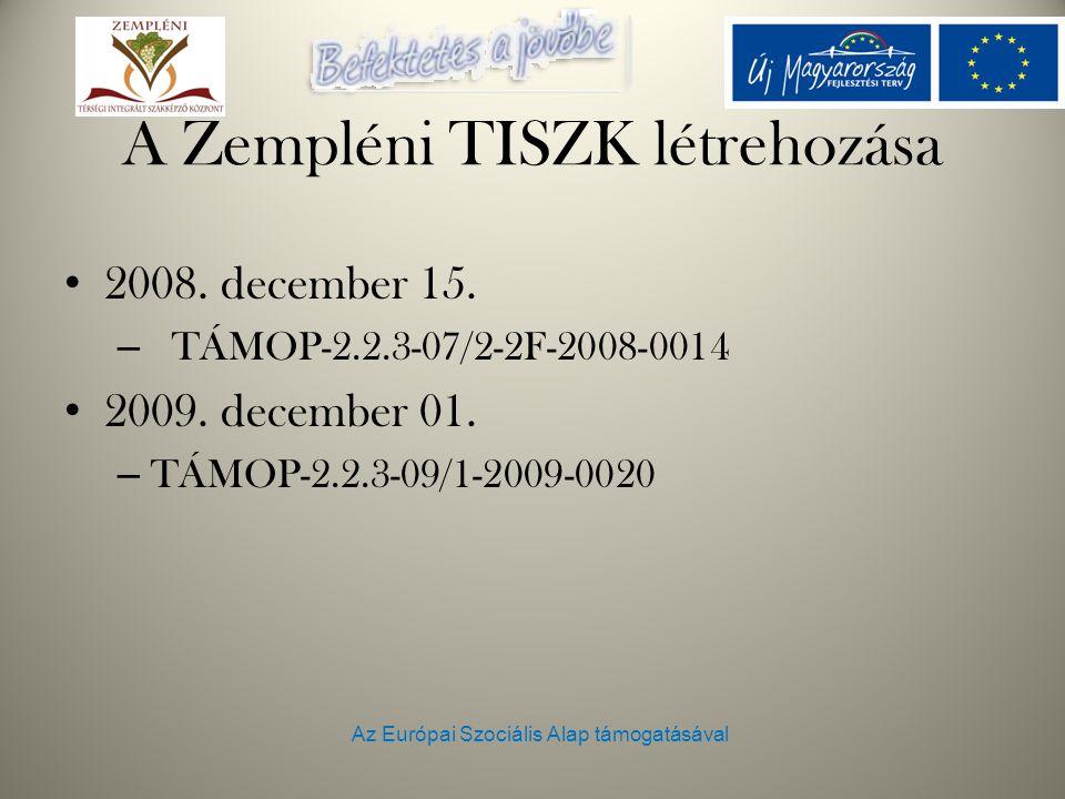 Az Európai Szociális Alap támogatásával A Zempléni TISZK létrehozása 2008. december 15. – TÁMOP-2.2.3-07/2-2F-2008-0014 2009. december 01. – TÁMOP-2.2