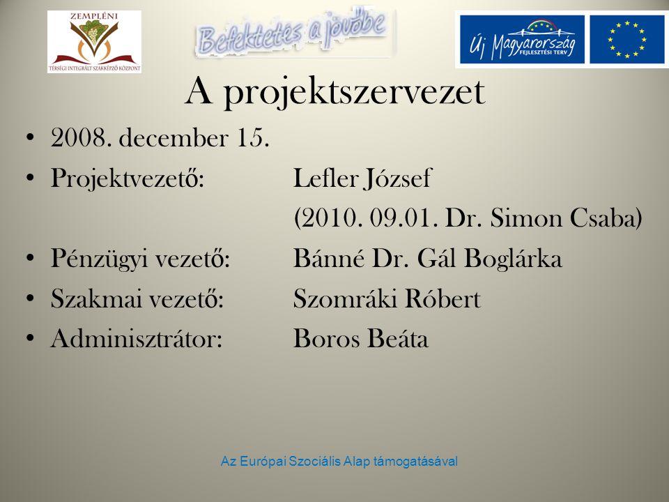 Az Európai Szociális Alap támogatásával A projektszervezet 2008. december 15. Projektvezet ő : Lefler József (2010. 09.01. Dr. Simon Csaba) Pénzügyi v