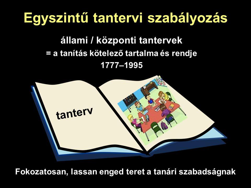 Egyszintű tantervi szabályozás állami / központi tantervek = a tanítás kötelező tartalma és rendje 1777–1995 Fokozatosan, lassan enged teret a tanári