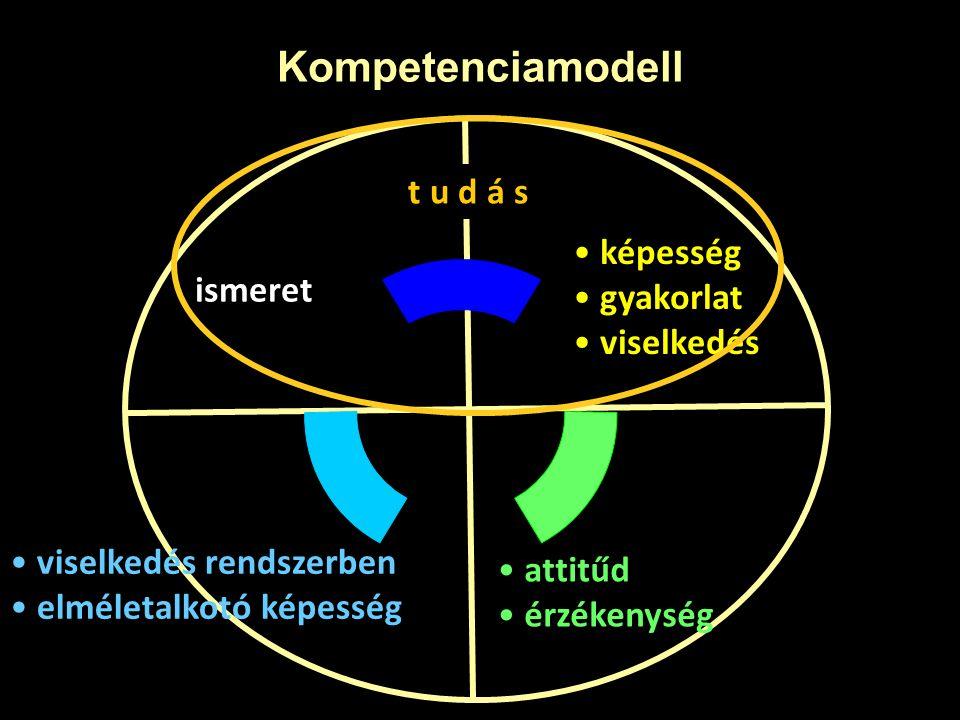 Kompetenciamodell képesség gyakorlat viselkedés ismeret attitűd érzékenység viselkedés rendszerben elméletalkotó képesség t u d á s