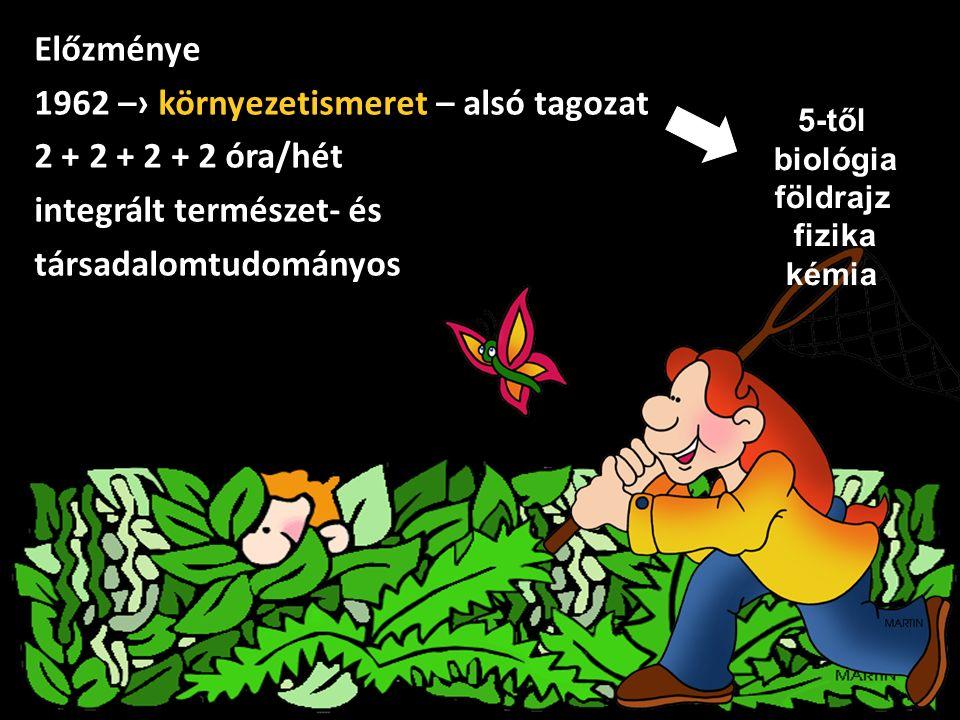 Előzménye 1962 –› környezetismeret – alsó tagozat 2 + 2 + 2 + 2 óra/hét integrált természet- és társadalomtudományos 5-től biológia földrajz fizika ké
