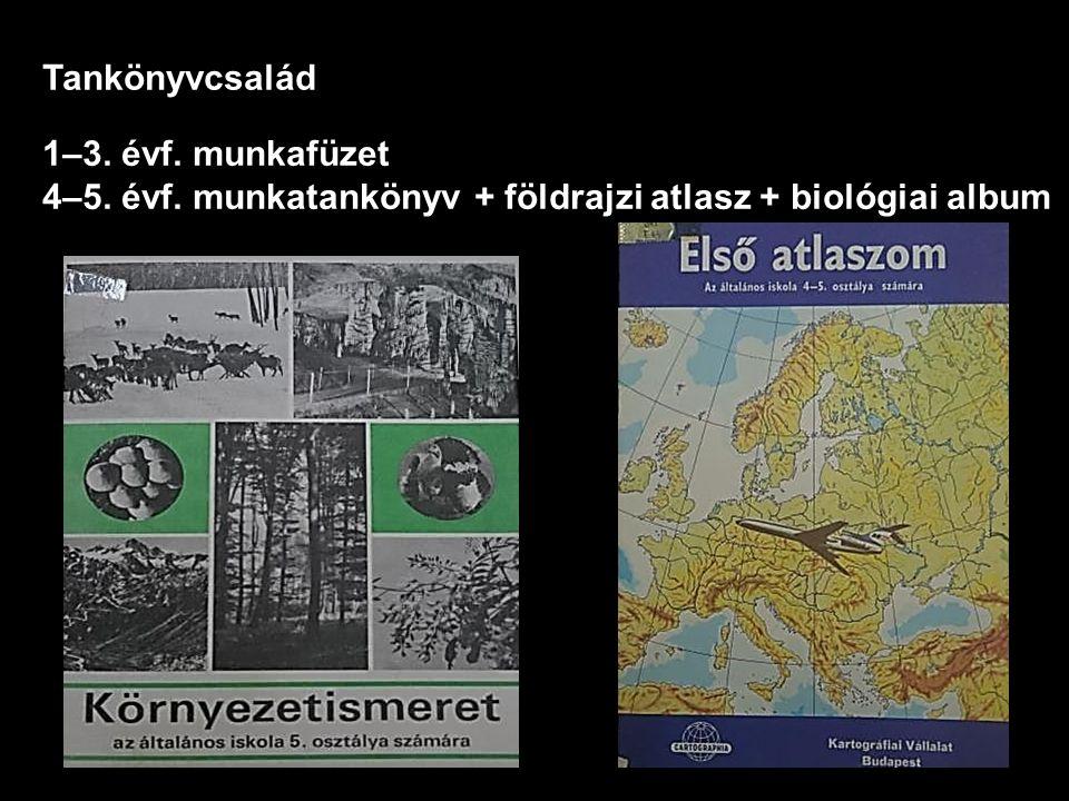 Tankönyvcsalád 1–3. évf. munkafüzet 4–5. évf. munkatankönyv + földrajzi atlasz + biológiai album